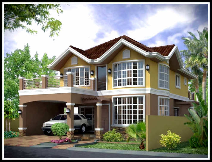 Traditional classic exterior house design in natural taste for Home exterior design images