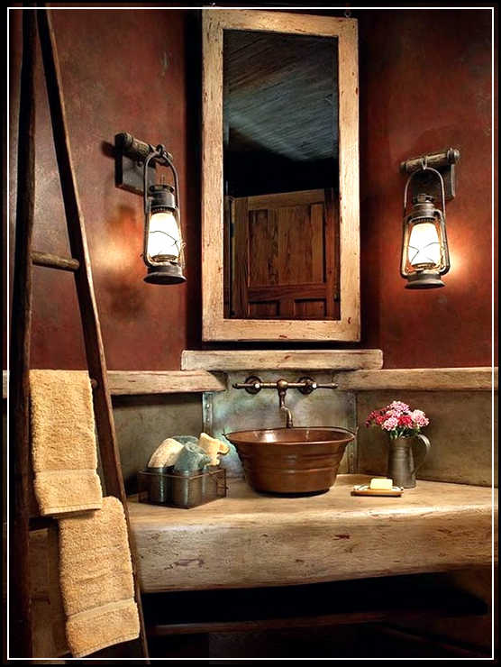 Rustic Tin Bathroom Ideas Also Rustic Master Bathroom Moreover Modern