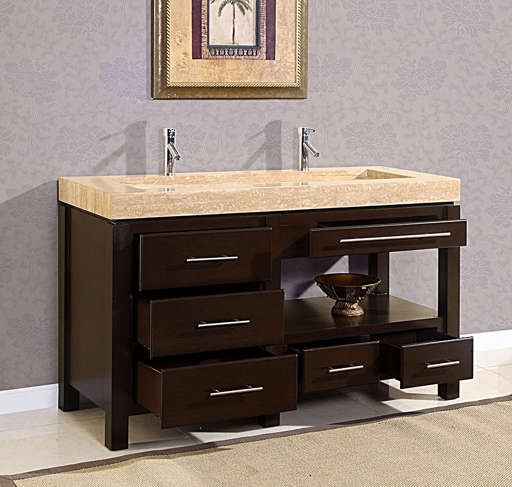 attractive bath space with double sink vanities