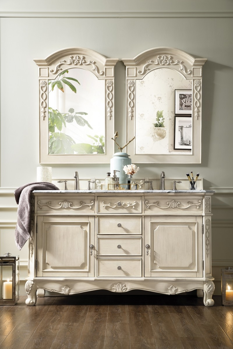 60 inch double sink bathroom vanity vintage vanilla finish marble top
