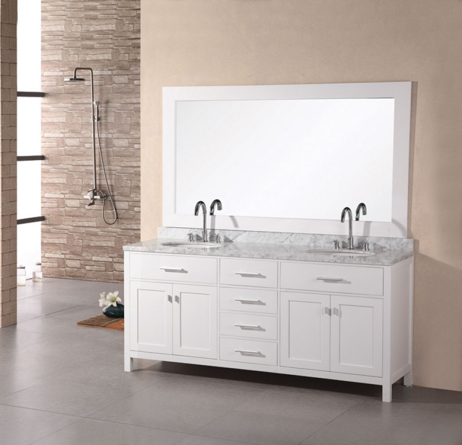 72 inch modern double sink bathroom vanity set in pearl white UVDE076B272