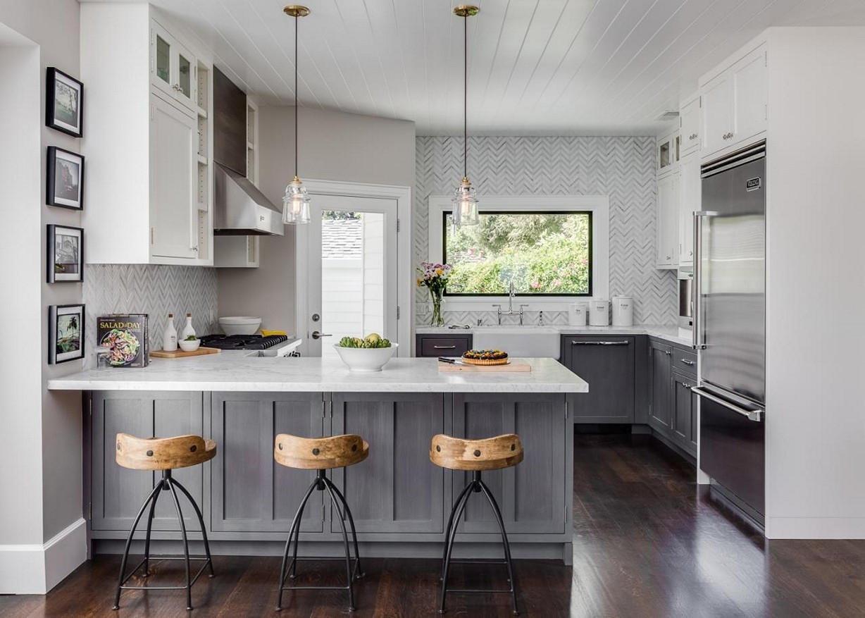 design your own gray and white kitchen