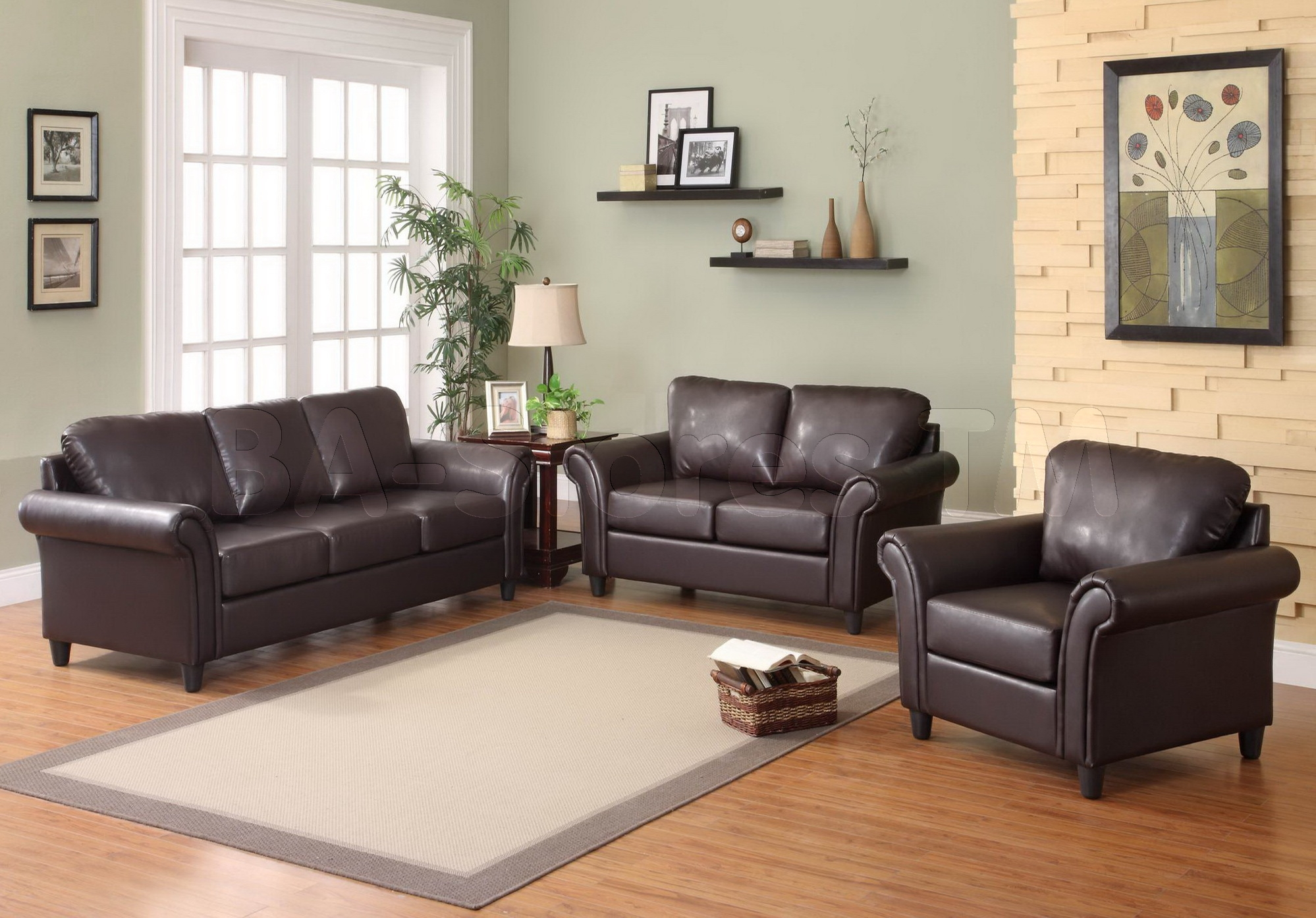 relaxing brown living room decorating ideas with dark brown leather sofa