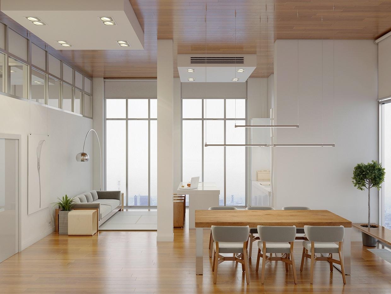 high rise apartment with stunning minimalist interior