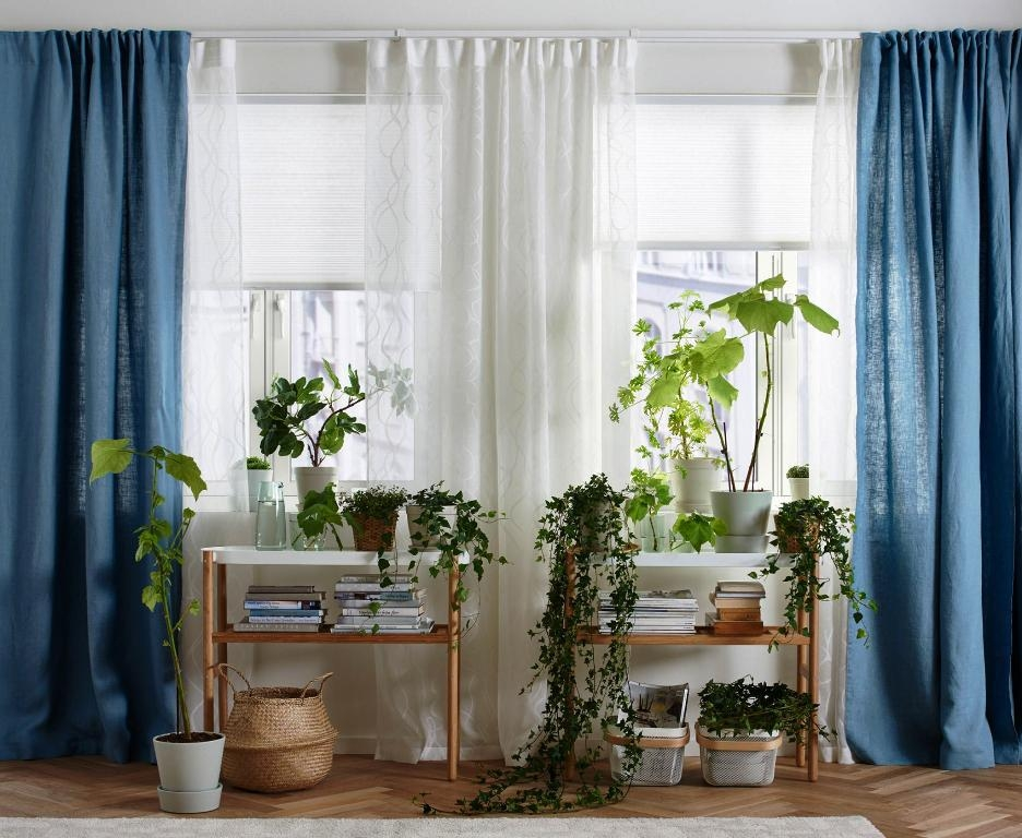 blue living room curtains with valance