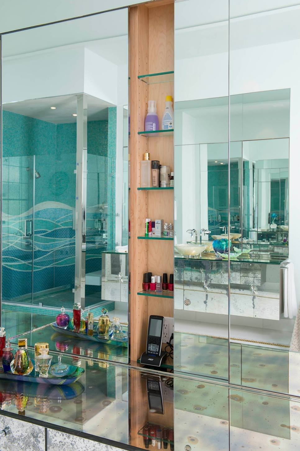 bathroom glass shelves designs