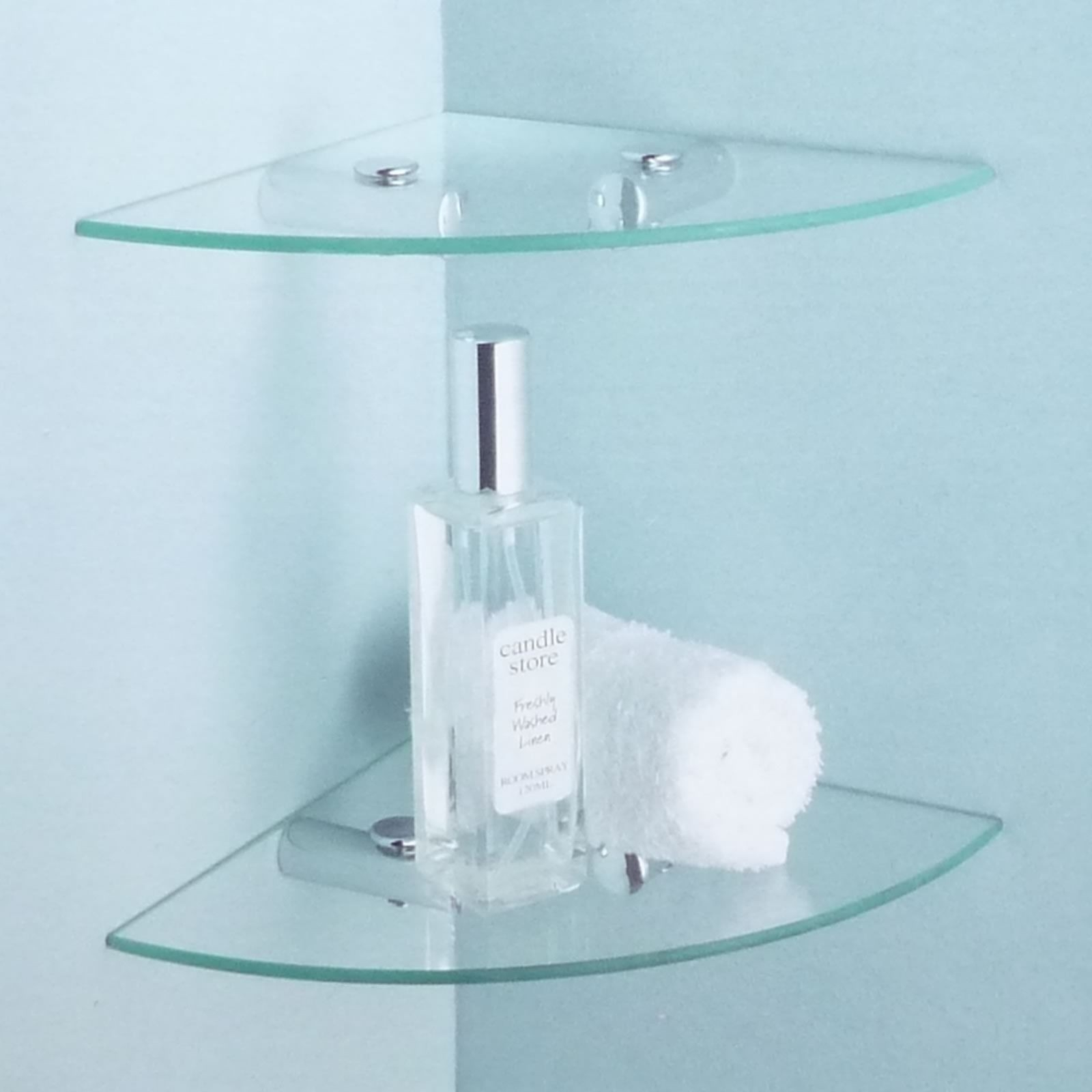 corner wall mount and standing glass bathroom shelves