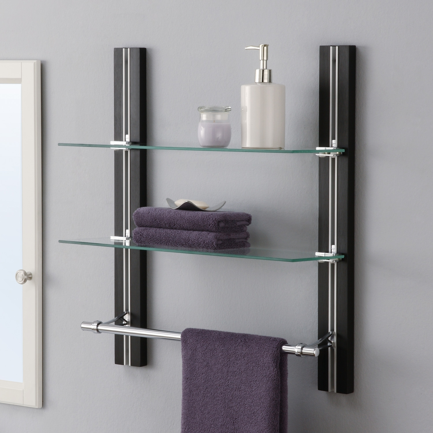 4935 bathroom wall mount glass shelf