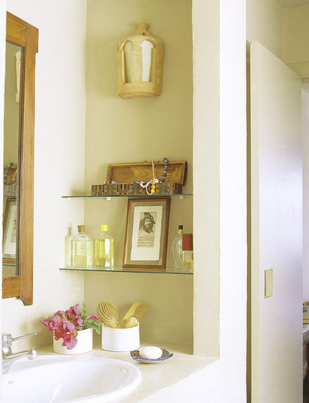 instant glass bathroom shelves storage idea for shampoo and spa cream bottle