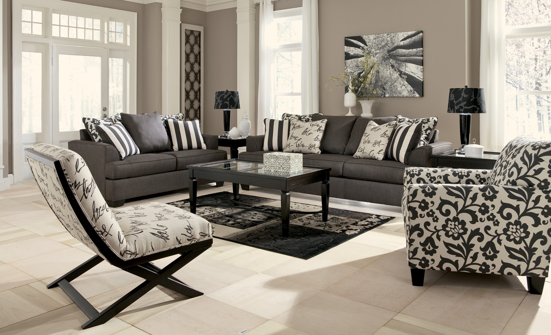 levon charcoal living room set