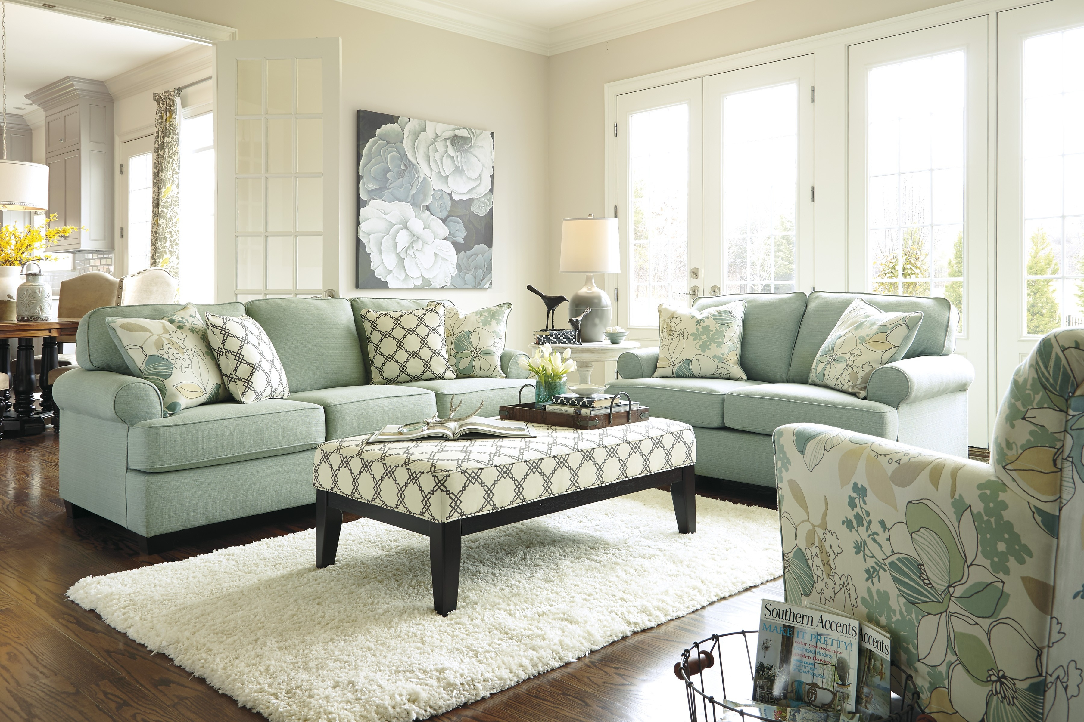 daystar seafoam living room set signature design set ashley
