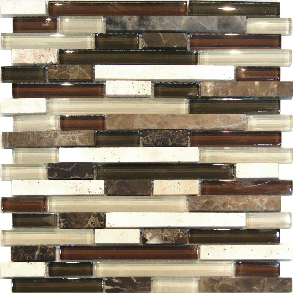 brown mosaic tile backsplash