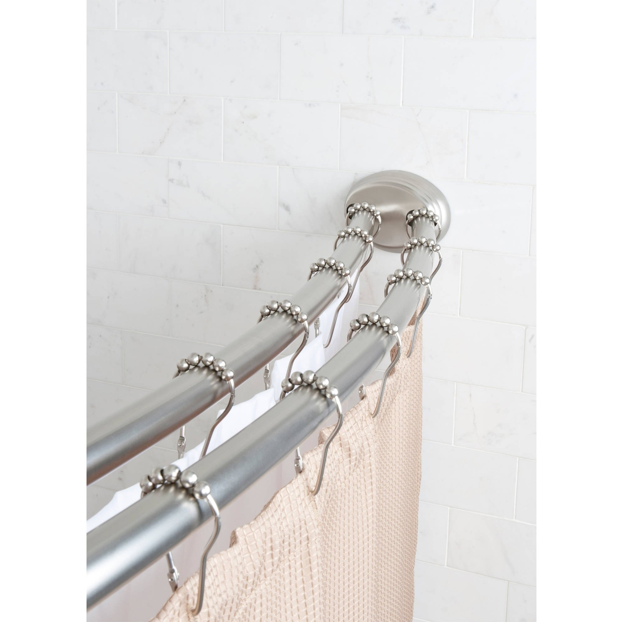curved tension shower curtain rod chrome